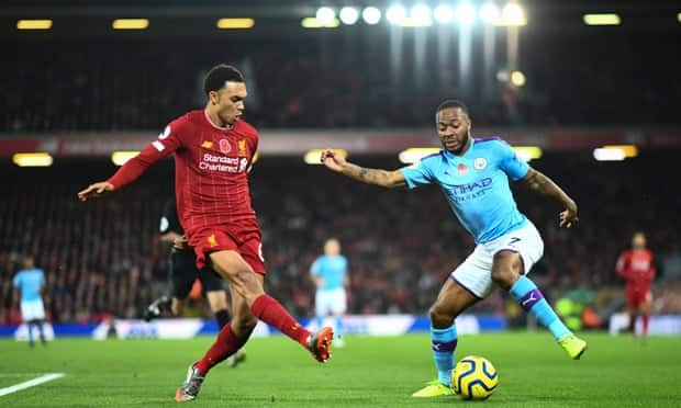 Liverpool's Trent Alexander-Arnold (left) and Raheem Sterling of Manchester City.